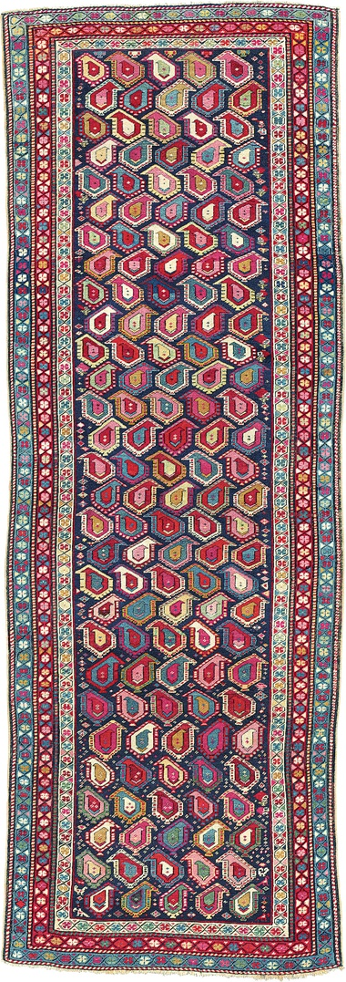 An Akstafa runner. East Caucasus, circa 1880. 10ft x 3ft 6 in (305 cm x 106 cm). This piece was offered in Oriental Rugs and Carpets on 19 April 2016 at Christie's in London and sold for £6,250