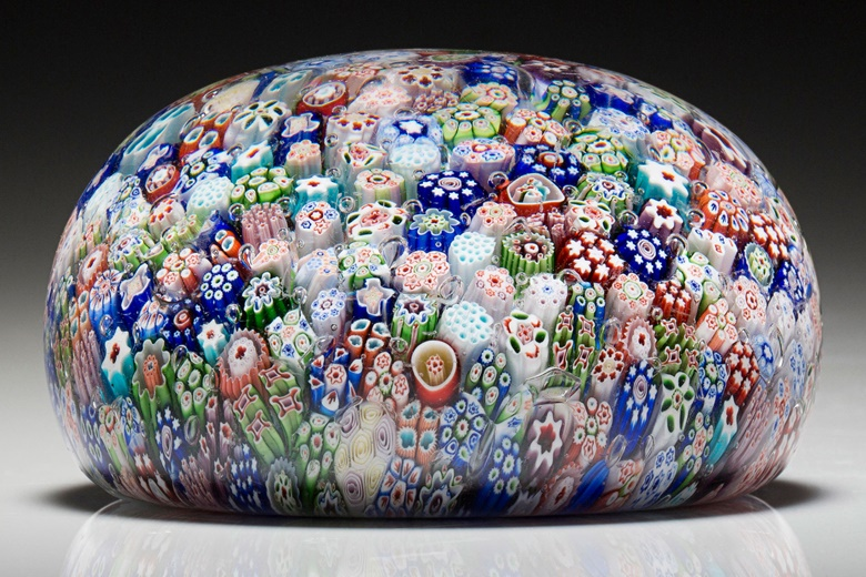 A Baccarat dated close millefiori weight, dated 1846, initialed and dated on a single cane b 1846. 2⅞ in (7.3 cm) diameter. Sold for $2,125 on 20 Apr 2016, Online