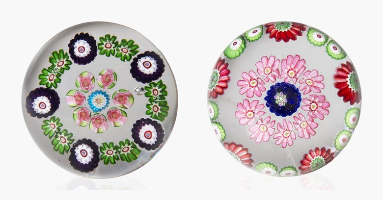 Two Clichy miniature concentric Millefiori weights, mid-19th century. 1¾ in (4.5 cm) diameter, both. Sold for $875 on 20 Apr 2016, Online