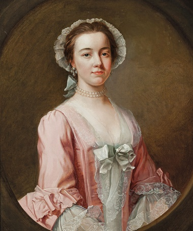 Attributed to Reverend James Wills (active 1740-1777), Portrait of a lady, traditionally identified as Ann Burney, half-length, in a pink dress with a lace bonnet and sleeves, with pearl earrings and a choker, in a feigned oval. 30⅛ x 25 in (76.5 x 63.5 cm). Oil on canvas. This work was offered in Old Master and British Paintings on 28 April 2016 at Christie's in London and sold