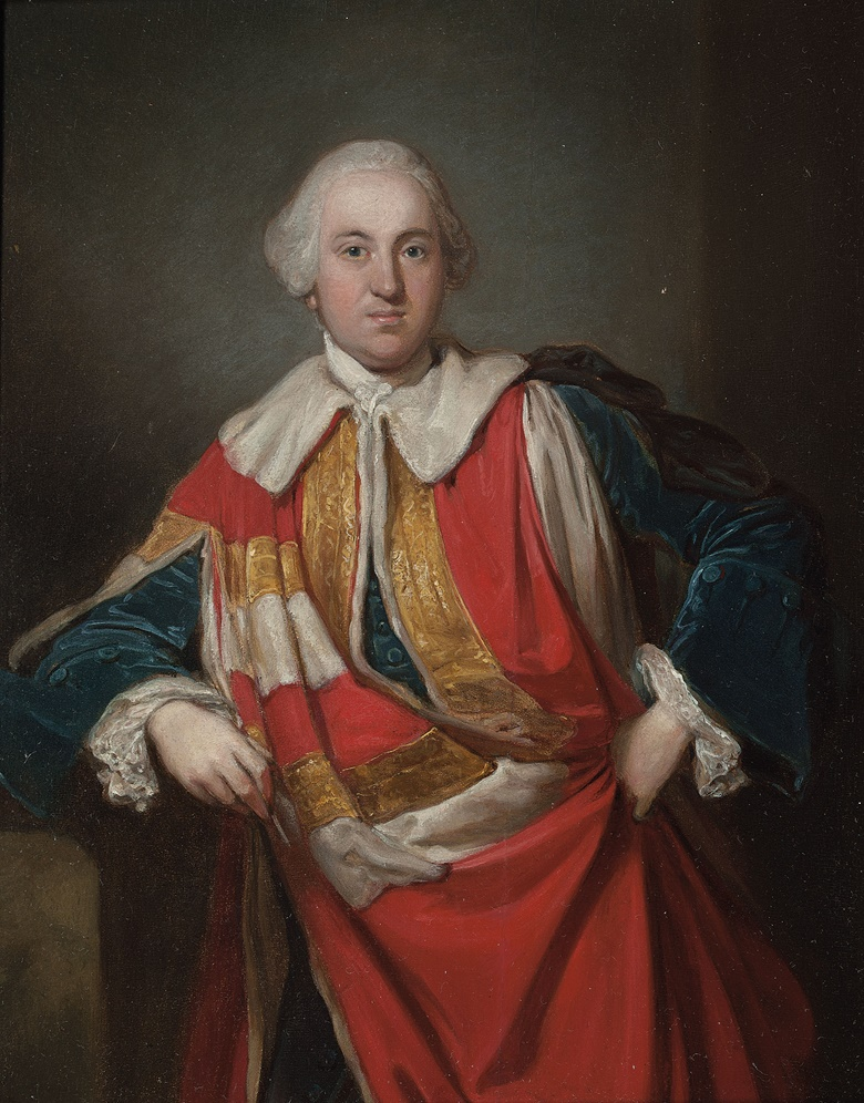 Sir Joshua Reynolds, P.R.A. (Plympton, Devon 1723-1792 London), Portrait of Richard, 2nd Baron Edgcumbe (1716-1761), small three-quarter-length, in Peers robes over a dark blue velvet suit. Oil on oak panel. 10 x 8 in. (25.4 x 20.3 cm.).  This work was to be offered in Old Master and British Paintings on 28 April 2016 at Christie's in London but withdrawn