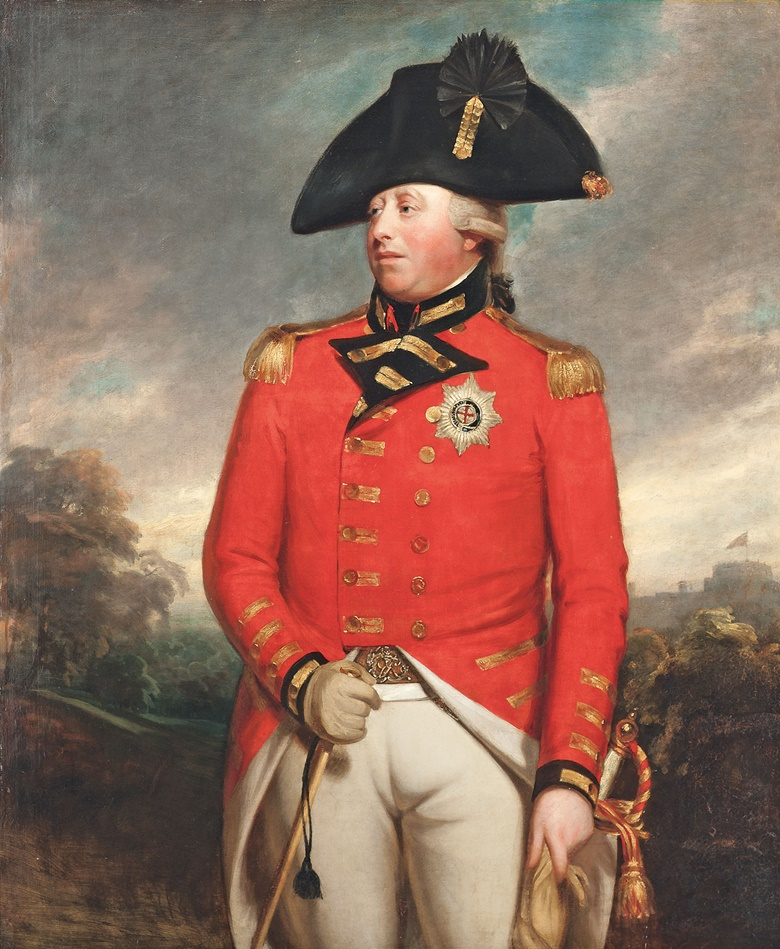 Sir William Beechey, R.A. (Burford, Oxfordshire 1753-1839 London), Portrait of King George III (1738-1820), three-quarter-length, in Field Marshals uniform, with the Star of the Order of the Garter, with Windsor Castle beyond. Oil on canvas. 56½ x 46¾ in (143.5 x 119 cm). This work was offered in Old Master and British Paintings on 28 April 2016 at Christie's in