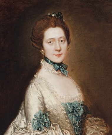 Thomas Gainsborough, R.A. (Sudbury, Suffolk 1727-1788 London), Portrait of Lady Anne Furye, née Greenly (b. 1738), half-length, in a white satin sack-back dress with blue echelles, wearing a blue ribbon and lace choker, with crystal earrings and pompom flowers in her hair. Oil on canvas. 30 x 25 in (76.3 x 63.5 cm). This work was offered in Old Master and British Paintings on 28