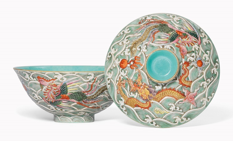 A moulded famille rose 'Dragon and Phoenix' bowl and cover. Qianlong-Jiaqing period (1736-1820). This work was offered in Inspired Themes a Fine Selection of Chinese Works of Art on 10 May 2016 at Christie's in London and sold for £11,250
