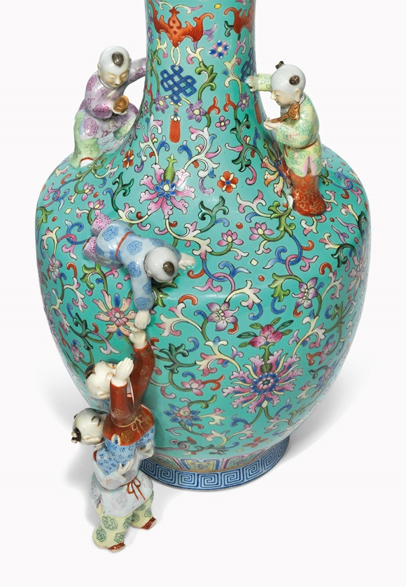 A turquoise-ground famille rose 'five boys' vase. Qianlong six-character seal mark in iron-red and of the period (1736-1795). This work was offered in Inspired Themes a Fine Selection of Chinese Works of Art on 10 May 2016 at Christie's in London and sold for £362,500