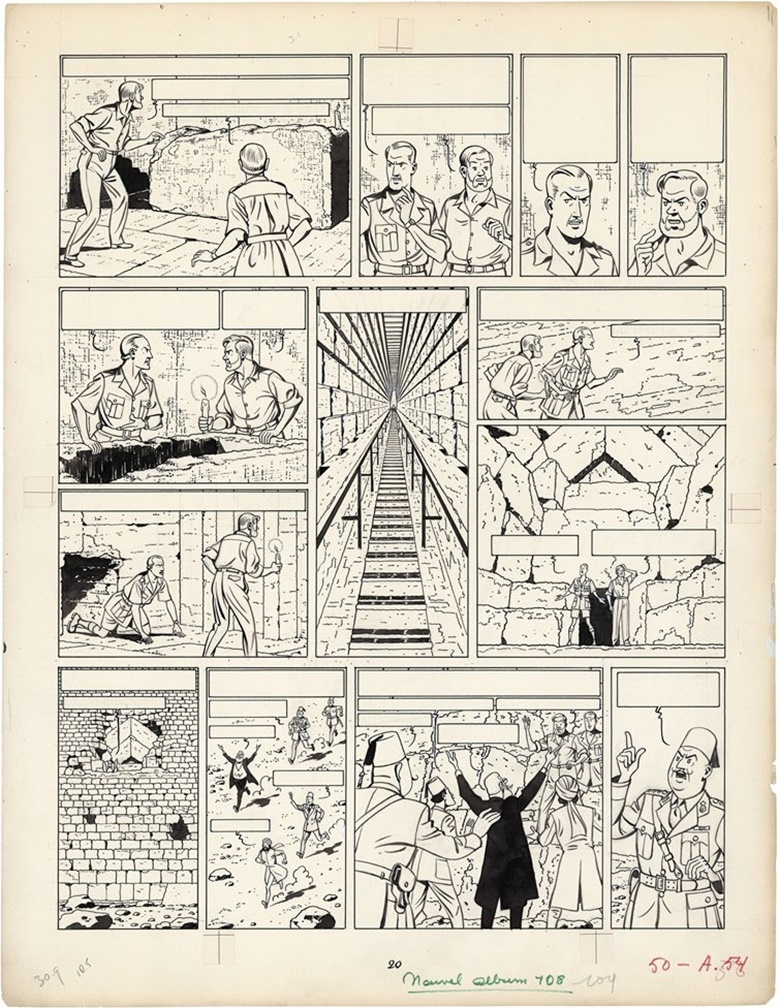Edgar P.Jacobs, Blake et Mortimer, Le mystère de la grande pyramide, Le Lombard 1955. Original plate No.52 prepublished in Le Journal de TintinBelgian No.20 of May 1952. Chinese ink on paper. This work was offered in Bande Dessinée on 21 May 2016 at Christie's in Paris and sold for €205,500
