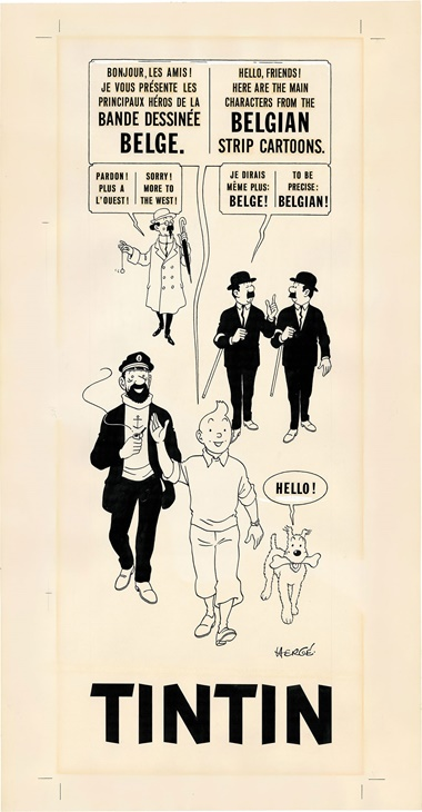 Hergé, Tintin. Original illustration produced for the Belgian Pavilion for the Universal Exhibition in Montreal, 1967. Chinese ink on paper. Estimate €300,000-350,000. This work was offered in Bande Dessinée on 21 May 2016 at Christie's in Paris and sold for €601,500