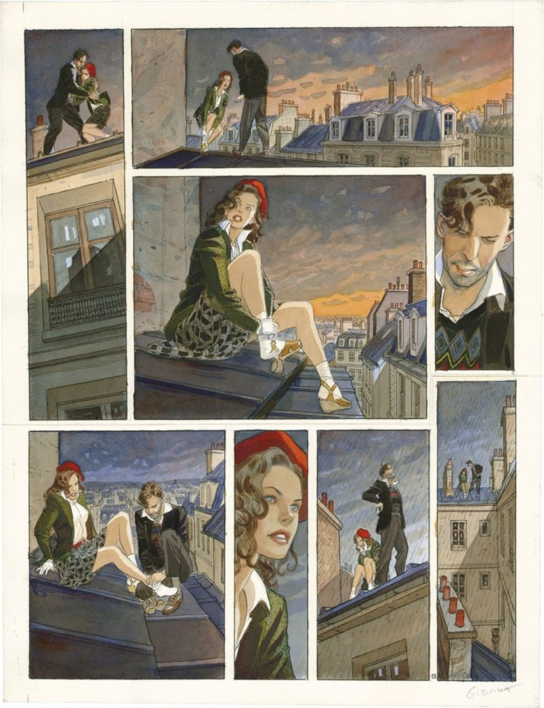 Jean-Pierre Gibrat, Le Vol du Courbeau, Dupuis 2002. Original plate nº13. Signée. Coloured ink on paper. This work was offered in Bande Dessinée on 21 May 2016 at Christie's in Paris and sold for €55,500