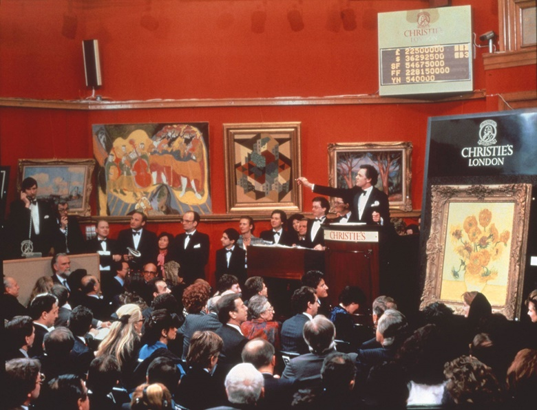Van Gogh's Still Life Vase with Fifteen Sunflowers goes to auction at Christie's on 30 March 1987. The painting sold for £22,500,000, setting the record price for any work of art