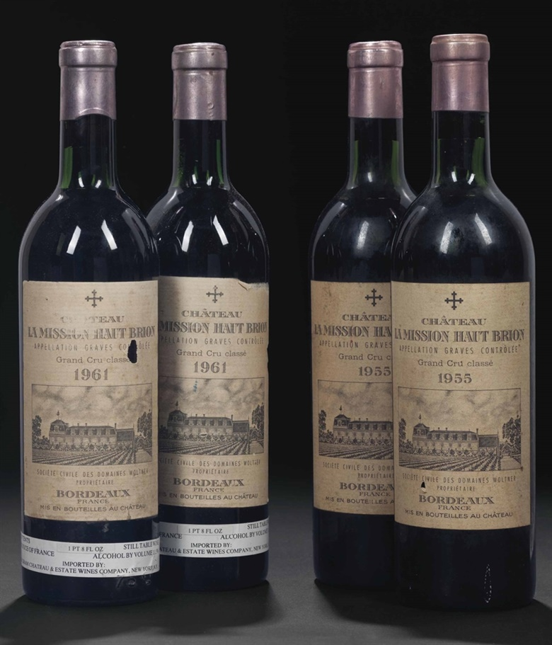 Château La Mission-Haut-Brion 1961. 4 bottles per lot. This lot was offered in Fine Wines and Spirits Featuring Rarities Direct from the Cellars of Champagne Henriot on 10 June 2016 at Christie's in New York and sold for $10,412