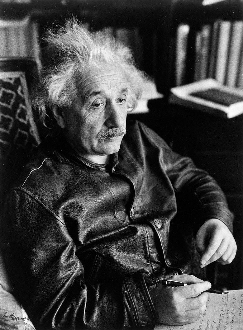Lotte Jacobi, Albert Einstein in the leather jacket © 1938 The University of New Hampshire. Portrait of Albert Einstein courtesy of the University of New Hampshire