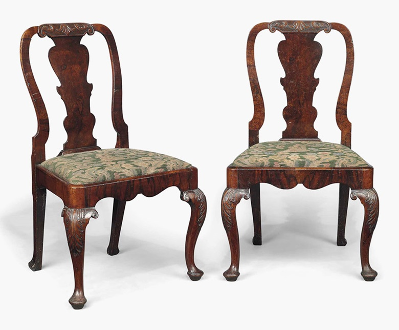 A pair of George I walnut side chairs. Early 18th century. 37½ in (95 cm) high. Sold for £1,000 on 20 July 2016