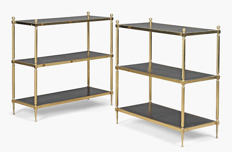 A pair of gilt-metal three-tier etagères. Modern. 32¼ in (82 cm) high; 31¾ in (80.5 cm) wide; 14 in (35.5 cm) deep. Sold for £2,250 on 20 July 2016