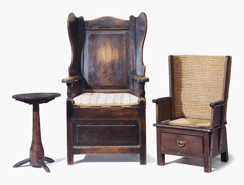 An English oak wingback chair, 19th century. Together with a Scottish Orkney Island childs chair and an oak and fruitwood side table.Sold for $2,000 on 26 July 2016 at Christie's in New York