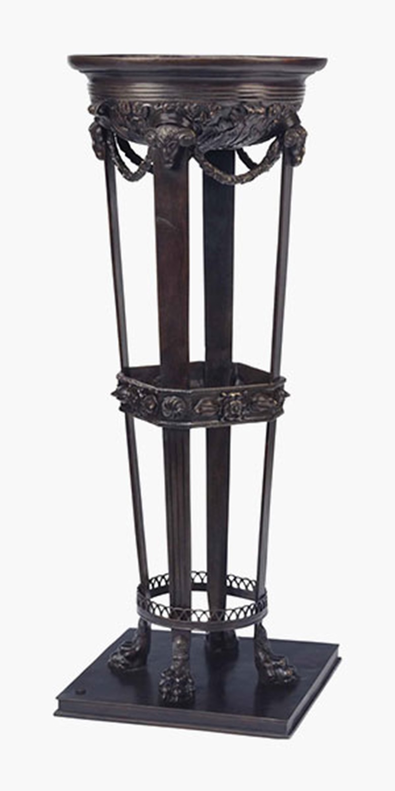 An Italian patinated bronze jardinière, late 19thearly 20th century, cast by Fonderia Chiurazzi, Naples. After the model No. 447 from the Chiurazzi Workshop Catalogue, with Chiurazzi foundry seal and incised '4299'. 39¾ in (101 cm) high. Sold for $1,250 on 26 July 2016
