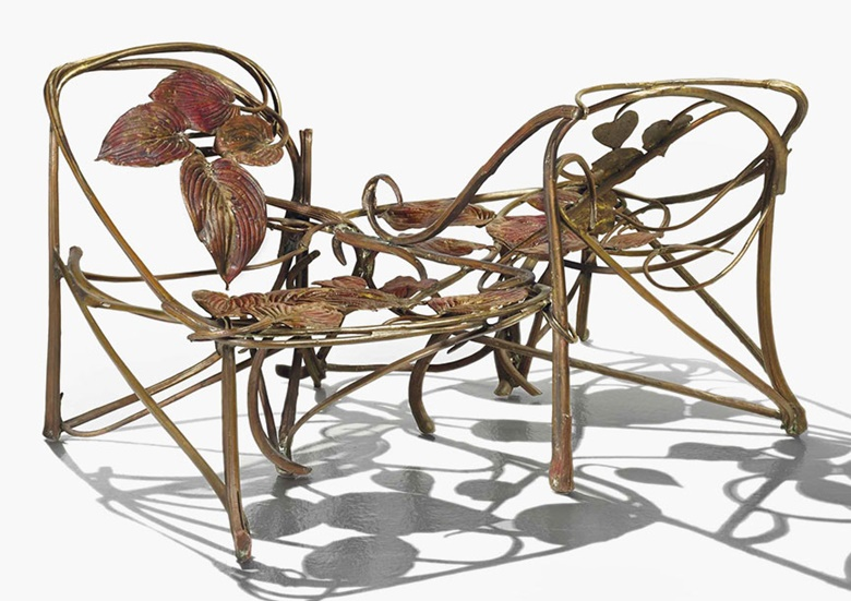 Claude Lalanne b. 1925, Love-seat, 1972. Gilt bronze, galvanized copper. 69 x 130 x 85 cm (27⅛ x 51⅛ x 33½ in). Sold for €721,500 on 25 May 2016