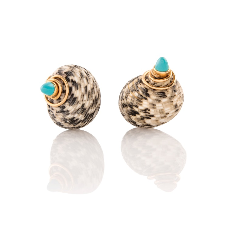 The Duke (1894-1972) and Duchess of Windsor (1896-1986). A pair of shell and turquoise earclips, circa 1965. Each with mottled shell (Nerita versicolor) in grey and white, with cabochon turquoise cap with tendril detail, unsigned. Estimate £8,000-12,000. This lot is offered in the Out of the Ordinary sale on 14 September at Christies South Kensington