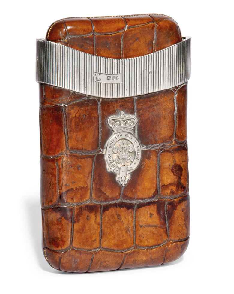 Edward VII (1841-1910) and Edward VIII (1894-1972). A large crocodile and silver mounted cigar case owned by King Edward VII when Prince of Wales and later given to Edward VIII, the Duke of Windsor. London 1894. Estimate £10,000-15,000. This lot is offered in the Out of the Ordinary sale on 14 September at Christies South Kensington