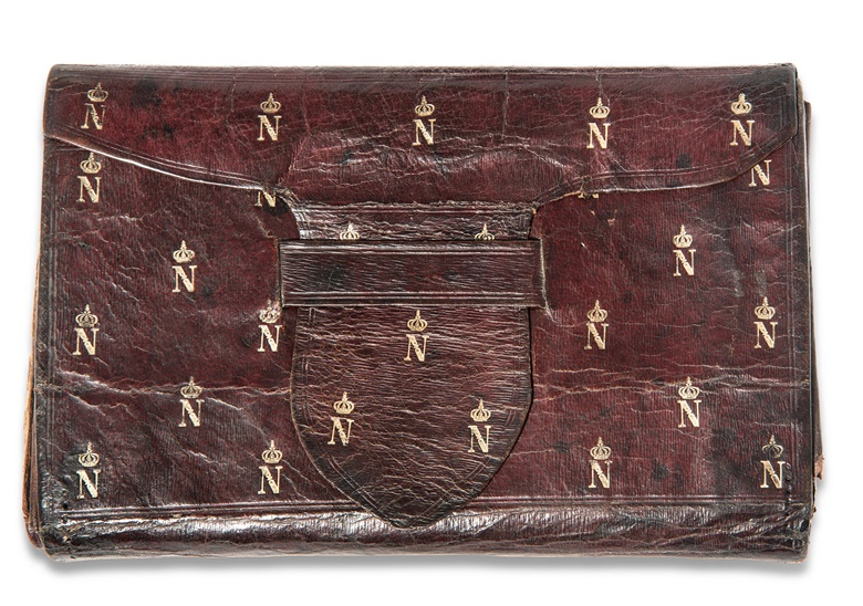 Emperor Napoleon I (1769-1821). A brown leather wallet, early 19th century. Double-sided with embossed Imperial crowned 'N's in gilt, overall 7 ¾ in (19.7 cm) wide. Estimate £2,000-3,000. This lot is offered in the  Out of the Ordinary sale on 14 September at Christies South Kensington