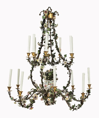 Kirill selects  A North European ormolu, painted tole and porcelain 16-light chandelier. Second half 19th century. 47¼ in (120 cm) high, 41½ in (105.5 cm) diameter. This lot was offered in Opulence on 10 October 2016 at Christie's in New York, Rockefeller Plaza