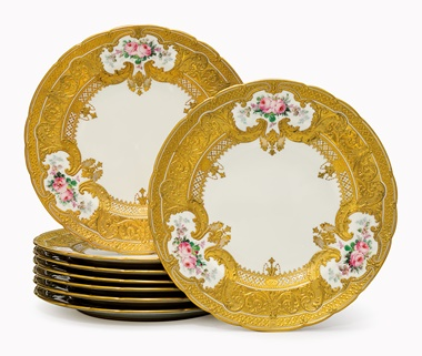 Kirill selects  A set of eight Royal Crown Derby porcelain parcel-gilt plates. Dated 1902-1903, puce printed crowned. 10 in (25.5 cm) diameter. This lot was offered in Opulence on 10 October 2016 at Christie's in New York and sold for $5,000
