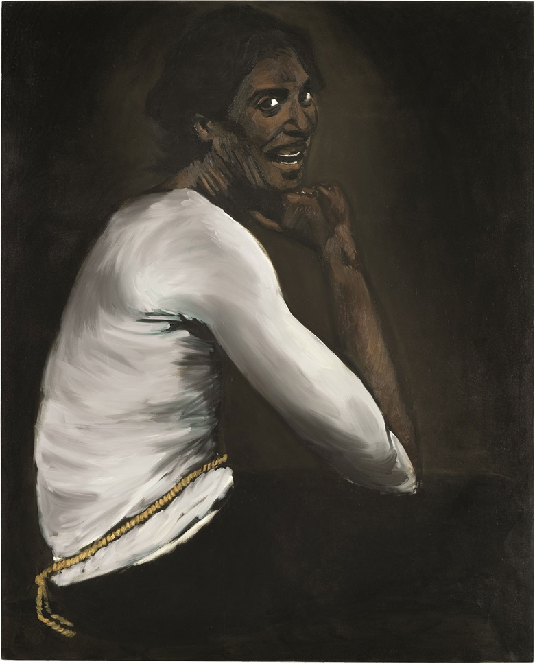 Lynette Yiadom-Boakye (b. 1977), Bound Over to Keep the Faith. Oil on canvas, 98⅜ x 78¾ in (250 x 200 cm). Estimate £80,000-120,000. This lot is offered in Post-War & Contemporary Art Evening Auction on 6 October 2016 at Christie's in London, King Street
