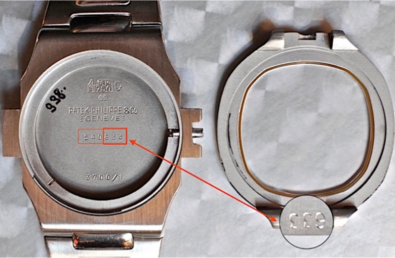 The latter three letters of the case serial number correspond with those punched under the bezel. Photograph courtesy of mstanga