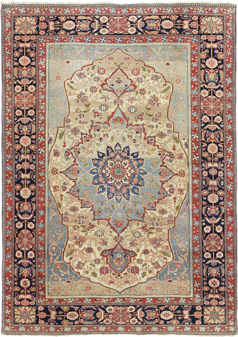 A Kashan Mohtasham rug. Central Persia, c.  1890. 6 ft 6 in x 4 ft 7 in (197 cm x 140 cm). This lot was offered in Oriental Rugs and Carpets on 18 October 2016 at Christie's in London, King Street