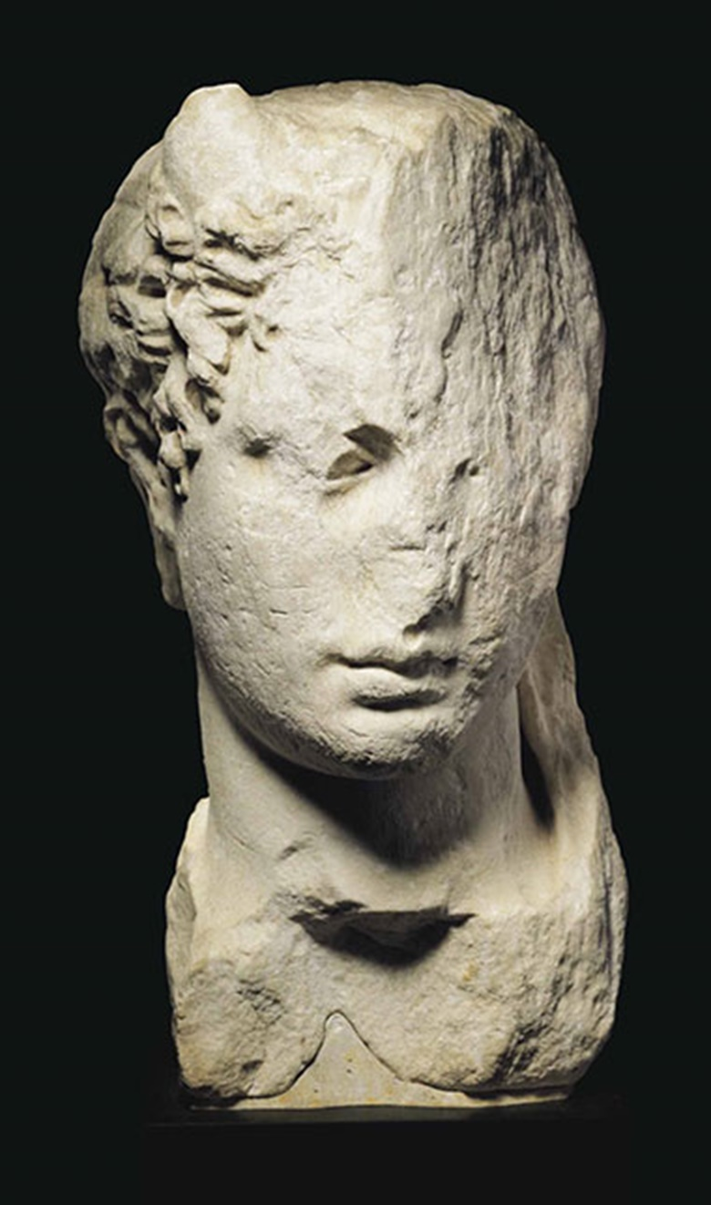 A Greek marble head of a ruler. Hellenistic Period, c.  3rd-2nd century. 15 916 in (39.5 cm) high. This lot was offered inAntiquitieson 25 October 2016 at Christie's in New York and sold for $68,750