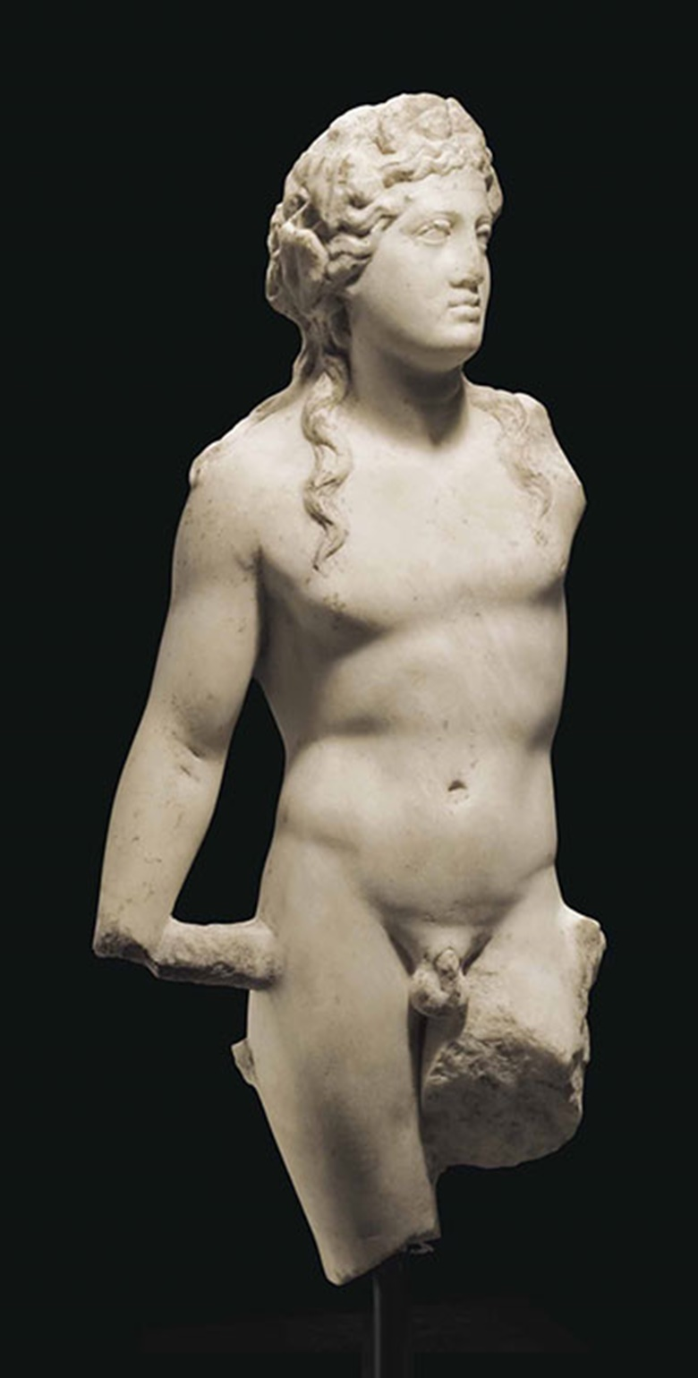A Roman marble Bacchus. C. 2nd century AD. 23¼ in (59 cm) high. This lot was offered inAntiquitieson 25 October 2016 at Christie's in New York