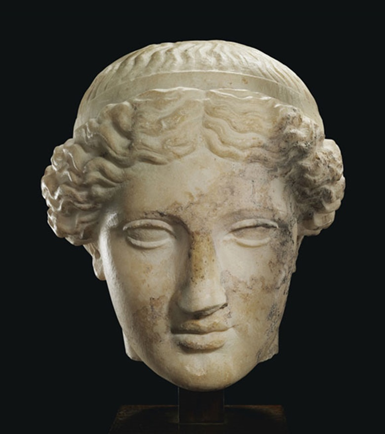 A Roman marble head of Venus. C. 1st century AD. 8 in (20.3 cm) high. This lot was offered inAntiquitieson 25 October 2016 at Christie's in New York and sold for $87,500