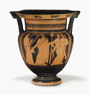 An Attic red-figured column krater. Attributed to The Marlay Painter, c.  450 B.C. 14½ in (36.9 cm) high. This lot was offered inAntiquitieson 25 October 2016 at Christie's in New York and sold for $100,000