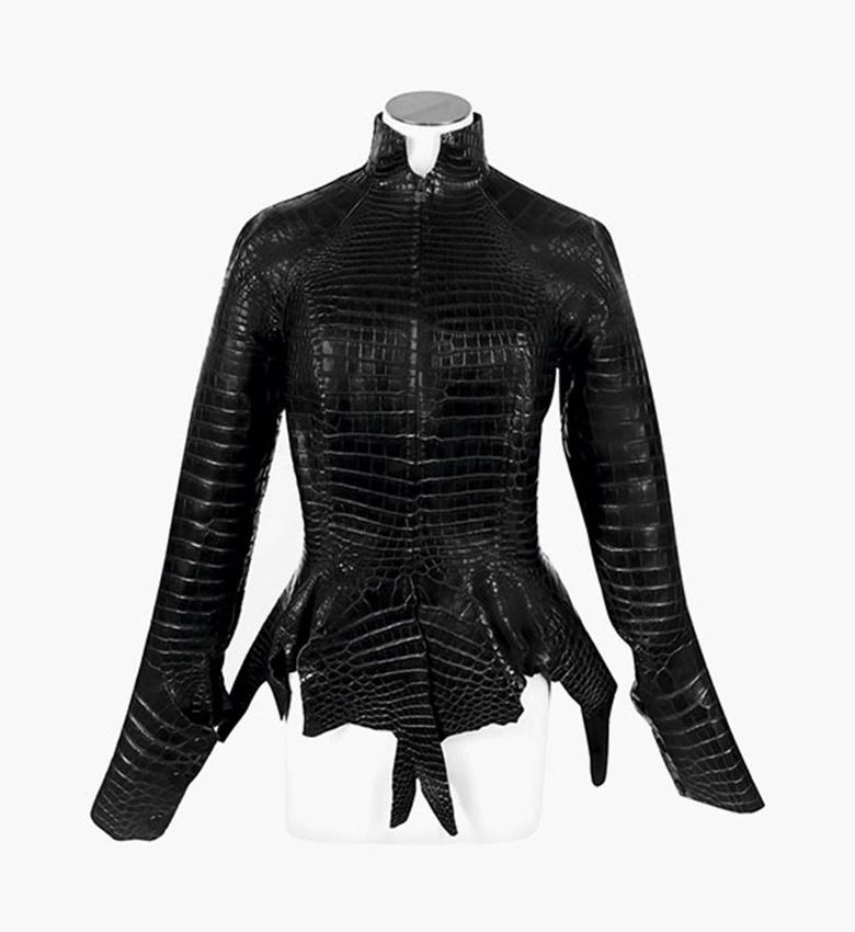 An exceptional, matte black porosus crocodile jacket by Jean Paul Gaultier. Hermès, 2004. Size 36. Sold for HK$275,000 on 1 June 2016
