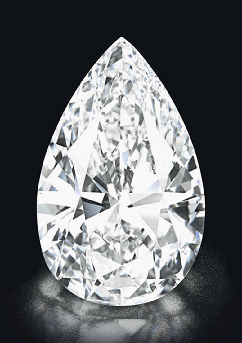 'Winston Legacy'. A pear-shaped D-colour Flawless diamond weighing approximately 101.73 carats. Sold for SFr25,883,750 on 15 May 2013