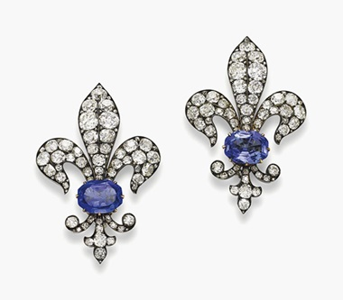 A pair of 19th-century sapphire and diamond brooches. Sold for SFr.81,250 on 15 November 2016