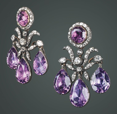 A pair of amethyst and diamond girandole ear pendants, from the Russian State Jewels. Sold at Christie's London on 16 March 1927 and at Christie's Geneva, 15 November 2007