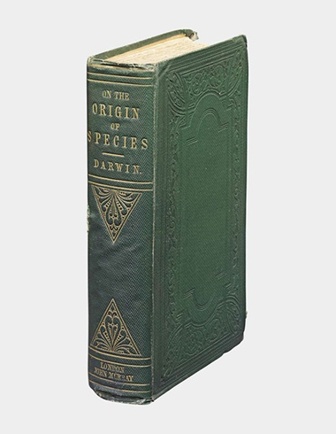 Charles Darwin. On the Origin of Species. London 1859. The first edition of this revolutionary and influential work. Sold for £103,250 at Christie's London in November 2009. The price of this copy reflects its unusually high quality — this title often shows a lot of wear