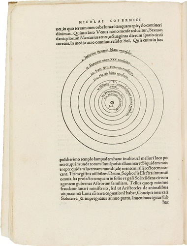 Nicolaus Copernicus. De revolutionibus orbium coelestium. Nuremberg 1543. The first edition of this landmark of science — one of the most important publications in this and any field. Sold for $2,210,500 at Christie's in New York in June 2008, making it the third most valuable scientific book at auction