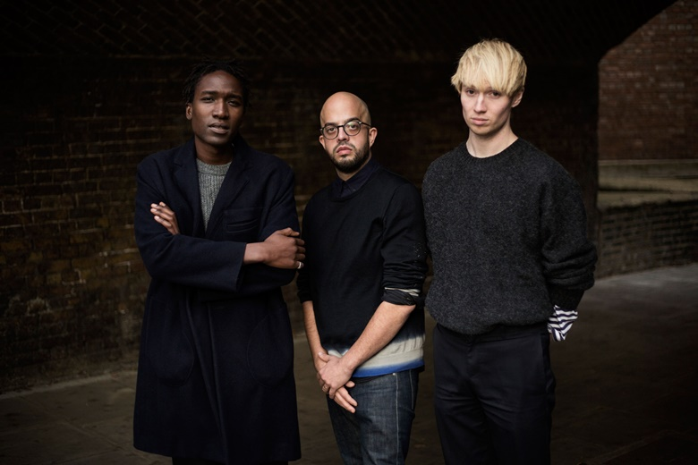 Agi (Mdumulla, left) & Sam (Cotton, far right) first met in 2008 while interning for Alexander McQueen before going on to work for other brands such as Karl Lagerfeld and J.W. Anderson. With a strong emphasis on bespoke textiles and humour, they believe that fashion should never be taken too seriously. Joe Frazer (middle) lives and works in London. He often uses textiles in his works and