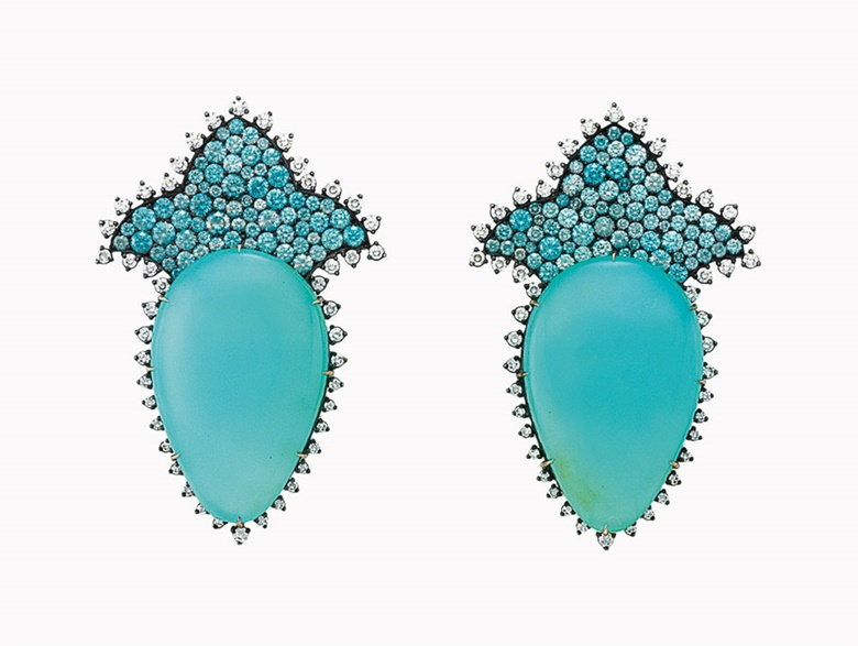 A pair of blue opal, multi-coloured zircon and diamond ear pendants, by JAR. This lot was offered in Magnificent Jewels on 7 December 2016 at Christie's in New York and sold for $223,500