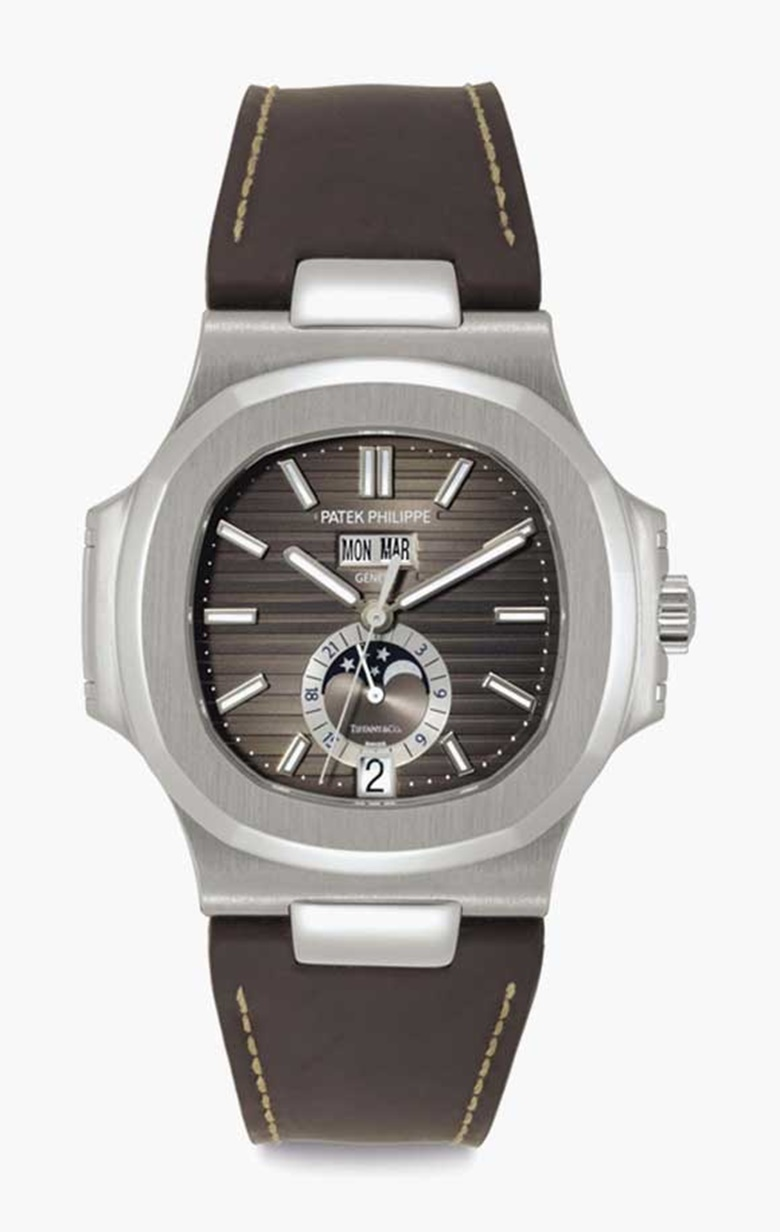 Patek Philippe. A stainless-steel automatic wristwatch with annual calendar, moon phases and daynight indication. Signed Patek Philippe, Genève, Retailed by Tiffany & Co., Nautilus Model, Ref. 5726A, Movement No. 5607769, Case No. 4752047, Circa 2012. This lot was offered in Rare Watches including NAUTILUS 40 part IV on 6 December 2016 at Christie's in New York and sold for