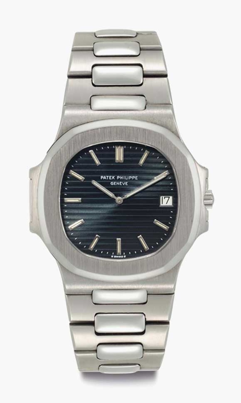 Patek Philippe. An early stainless steel automatic wristwatch with date and bracelet. Signed Patek Philippe, Genève, Nautilus Model, Ref. 37001, Movement No. 1303939, Case No. 533891, Manufactured in 1977. This lot was offered in Rare Watches including NAUTILUS 40 part IV on 6 December 2016 at Christie's in New York and sold for $68,750