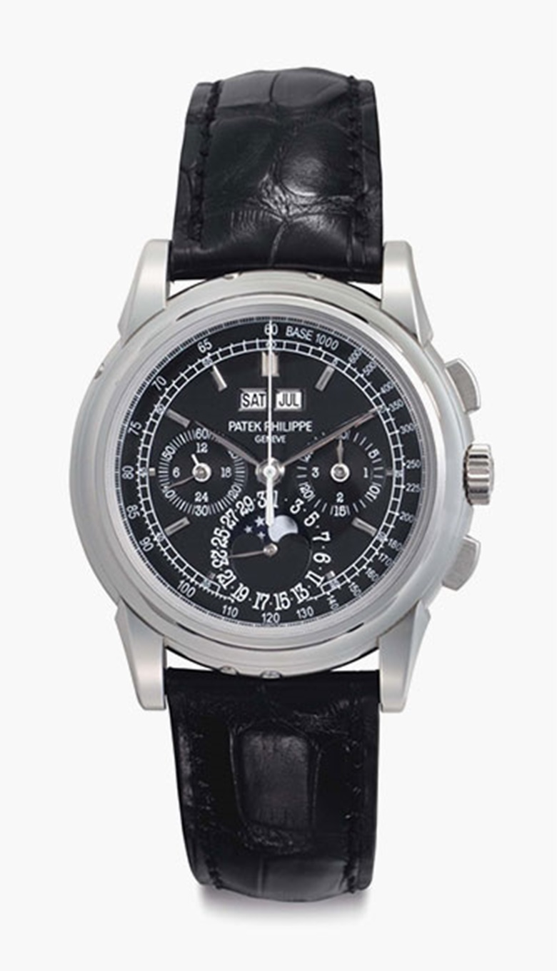 Patek Philippe. A fine and rare platinum perpetual calendar chronograph wristwatch with moon phases and additional solid caseback. Signed Patek Philippe, Genève, Ref. 5970P, Movement No. 3931384, Case No. 4503615, Circa 2009. This lot was offered in Rare Watches including NAUTILUS 40 part IV on 6 December 2016 at Christie's in New York and sold for $168,700