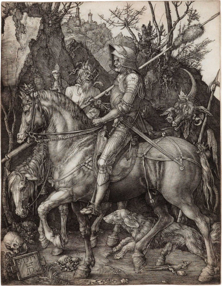 Albrecht Dürer, Knight, Death and the Devil, 1513. Engraving on laid paper. Sold for $187,500 on 25 January 2017 at Christie's in New York