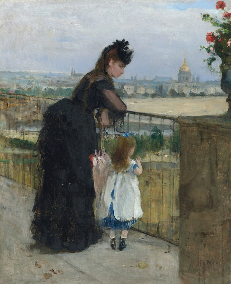 Berthe Morisot (1841-1895), Femme et enfant au balcon, 1872. Oil on canvas. 24 x 19¾ in (61 x 50 cm). This work was offered in the Impressionist & Modern Art Evening Sale on 28 February at Christie's London and sold for £4,085,000