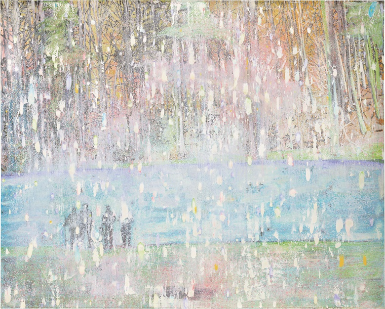 Peter Doig, Cobourg 3 + 1 More, 1994. Oil on canvas. 78½ x 98⅜ in (200 x 250 cm). Estimate £8,000,000-12,000,000. This work and the others pictured are offered in the Post War and Contemporary Art Evening Sale on 7 March at Christie's London