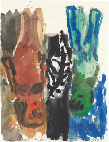 Georg Baselitz (b. 1938), Untitled (Red Mother with Child), 1985. Gouache and watercolour on paper. 29¾ x 23 in (75.6 x 58.4 cm). Estimate $15,000­–25,000. This work is offered in on paper  online, 23 February–7 March