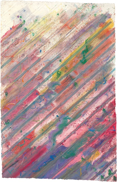 Kenneth Noland (1924­–2010), Rains, 1985. Monotype in colours with hand-colouring on handmade paper. Sheet 81½ x 52½ in (207 x 133.3 cm). This work is unique. Estimate $8,000­–12,000. This work is offered in on paper  online, 23 February–7 March