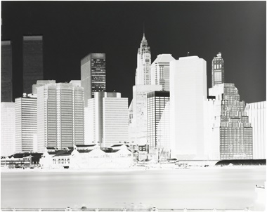 Vera Lutter (b. 1960), Fulton Ferry Landing, Manhattan Skyline, Brooklyn, New York, June 1996. Photogravure with aquatint and drypoint. Imagesheet 18⅞ x 23¾ in (47.9 x 60.3 cm). Estimate $7,000­–9,000. This work is offered in on paper  online, February 23–7 March