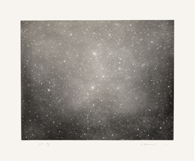 Vija Celmins (b. 1938), Night Sky 3, 2003. Copperplate bright white paper. Image 14⅝ x 18⅝ in (37.2 x 47.3 cm); sheet 19⅞ x 23¾ in (50.5 x 60.3 cm). This work is a special proof aside from an edition of 65. Estimate $6,000–8,000. This work is offered in on paper  online, February 23–7 March